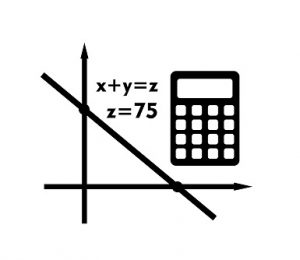 Monochrome vector icon of graph, equation and calculator representing algebra